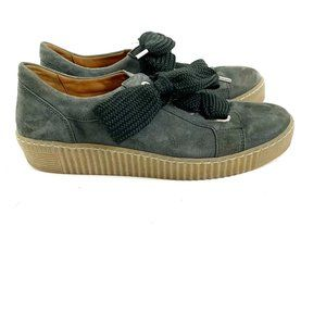 Gabor 33-330 Olive Suede Wide Lace Sneakers